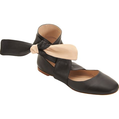flat shoes ankle chlo 233 ankle wrap ballet flat in black lyst