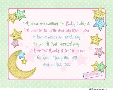 baby thank you card sweet starry shower color