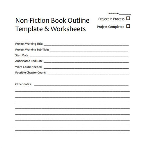 8 Useful Book Outline Templates To Download Sle Templates Nonfiction Book Template