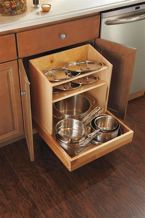 cabinet organizer for pots and pans cookware organizer cabinet homecrest cabinetry