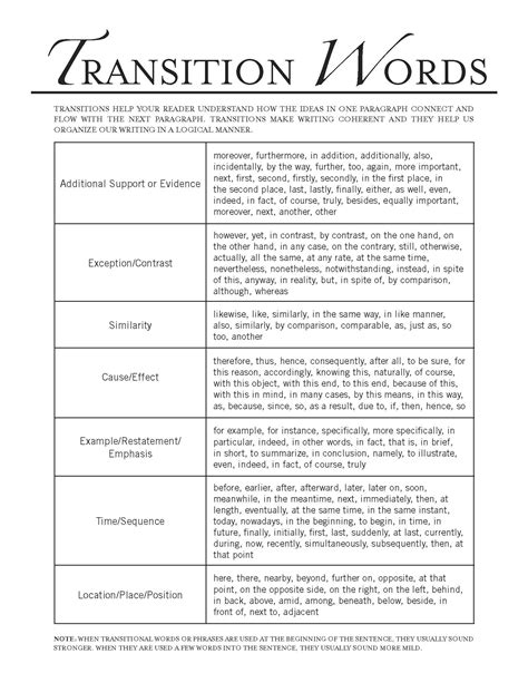 Transition In Essay Writing by Transitional Phrases For Essays Between Paragraphs Transitional Words Phrases Study Guides