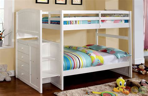 Bunk Beds With Drawers Built In Appenzell White Bunk Bed With Built In Drawers And Front Access Steps Cm Bk922t