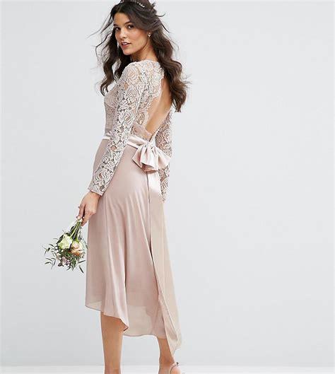 Mini Low Back Bow Lace Dress Pesta Putih Lengan Panjang Import Mu lyst tfnc lace midi bridesmaid dress with bow back in pink