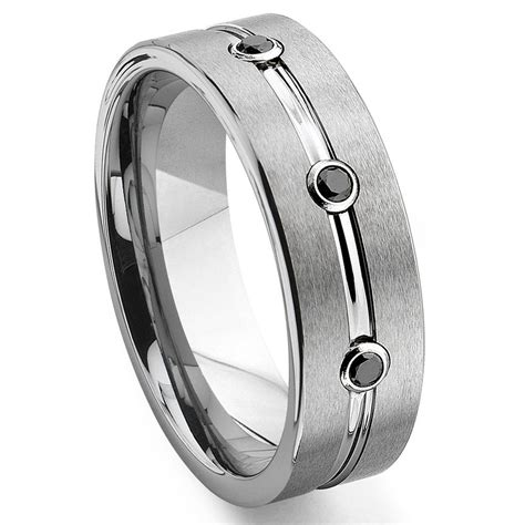 tungsten carbide black ribbed wedding band ring