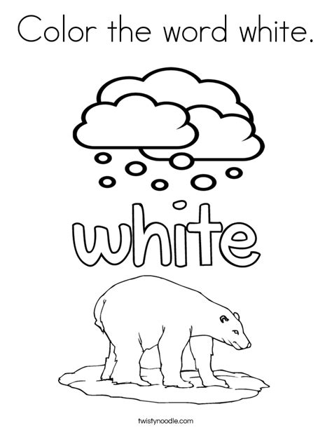 White Coloring Pages color the word white coloring page twisty noodle