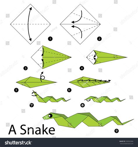Origami Snake Easy - step by step how make stock vector 339563366