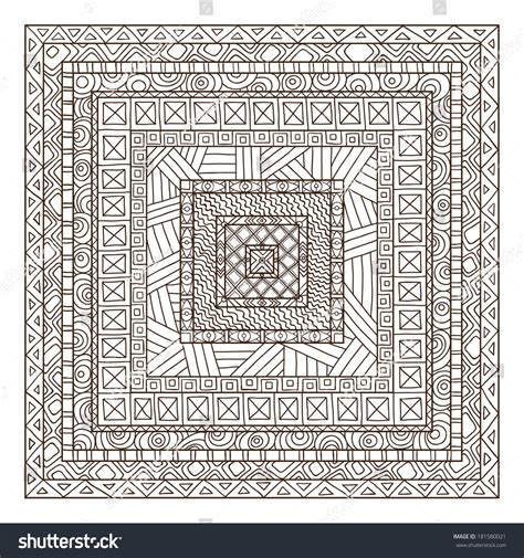 original drawing tribal doddle rectangle template stock