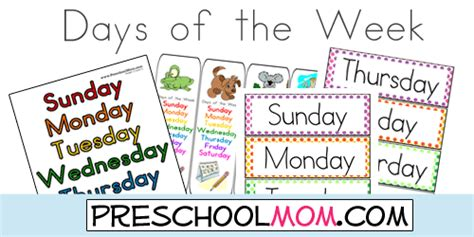 printable board games days of the week free days of the week printables from preschool mom