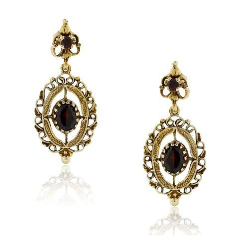 14k yellow gold garnet dangle earrings