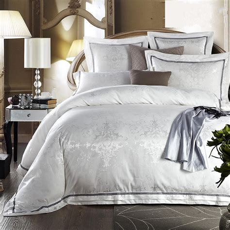 white silk bedding sets luxury white jacquard satin comforter duvet cover king