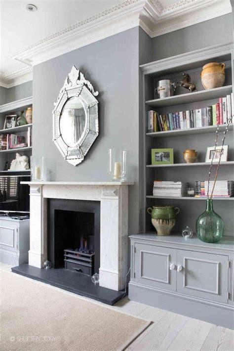 fireplace decorating idea  mirror   grey elegant