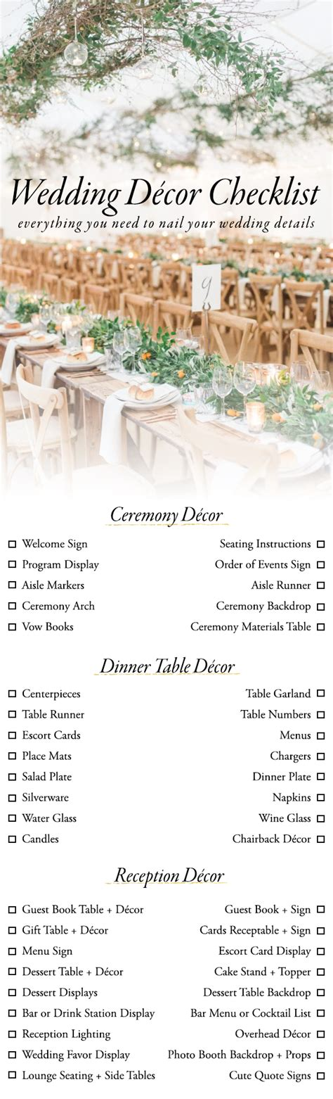 Wedding Ceremony Details by Use This Wedding D 233 Cor Checklist To Help You Nail Every