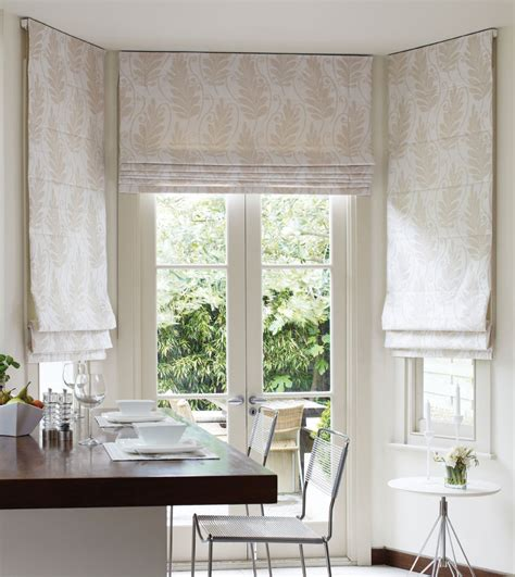 kitchen bay window curtains mounted from ceiling roman blinds kitchen inspiration
