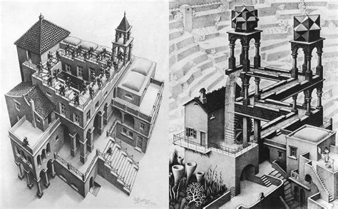 M C Escher Sketches by Two Impossible Illustrations By M C Escher Tom