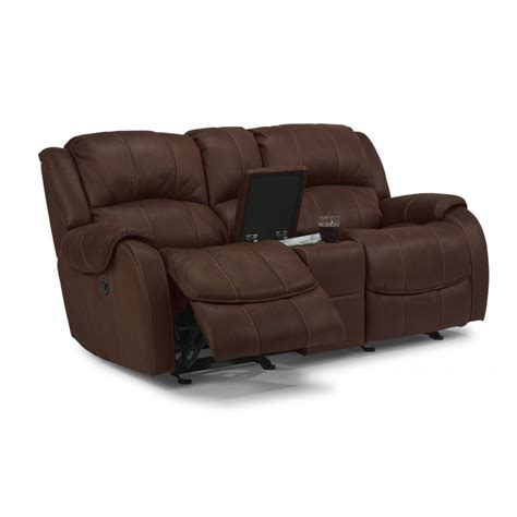 fabric reclining loveseat with console flexsteel 1549 604p pure comfort fabric power reclining