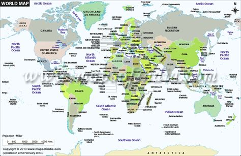 world map showing   countries  political