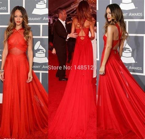celebrity red carpet dresses kzdress 55th grammy rihanna dresses 2015 red high neck open back