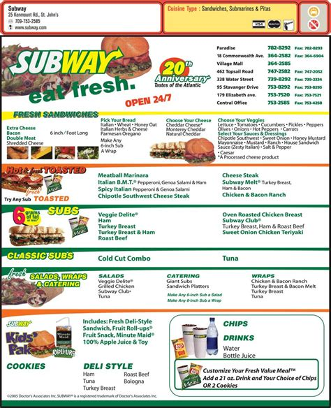 Subway Printable Menu