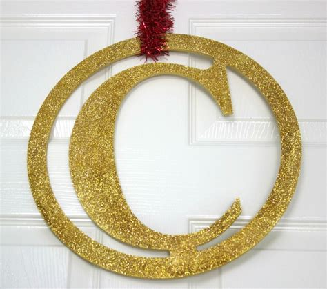 gold glitter monogram diy holiday decor diyideacentercom