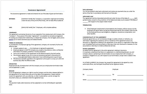 Severance Agreement Template Microsoft Word Templates Severance Agreement Template
