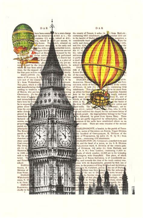 Vintage Air Balloon Decor by Vintage Air Balloon Print Big Ben Print