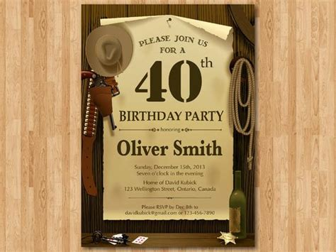 40th Western Birthday Invitation 30th 40th 50th 60th 70th West Invitation Template