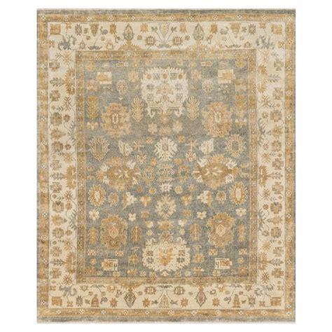 rug 6x8 silas global bazaar blue ivory oushak wool rug 5 6x8 6 kathy kuo home