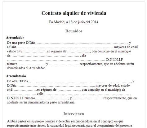 contrato alquiler vivienda 2015 word contrato alquiler vivienda 2015 word