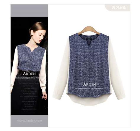 Gres Top Fashion Wanita Lengan Terompet Cantik Blouse Polos Oz blouse cantik lengan panjang putih 2015 model terbaru jual murah import kerja