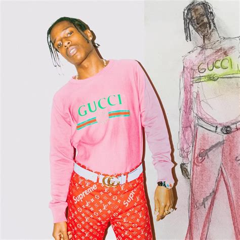Supreme X Lv Sweater spotted a ap rocky in gucci sweater and 1 1 supreme x