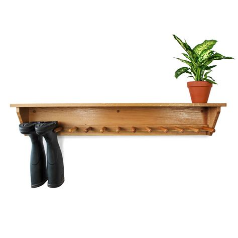 oak wall hanging welly rack 6 pair boot and saw