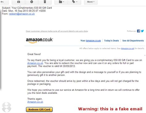 Amazon Gift Cards Email - spam frauds fakes and other malware deliveries page 28