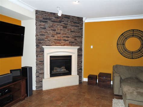 fireplace surrounds of faux brick and contemporary