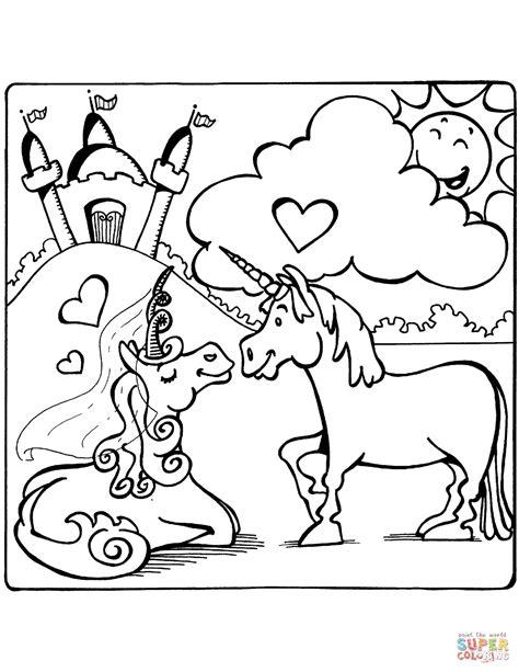 Dibujo de Unicornios enamorados para colorear | Dibujos