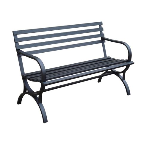 garden bench lowes shop garden treasures 49 in l steel iron patio bench at lowes com