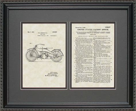 framed patent art harley motorcycle patent art wall hanging gift