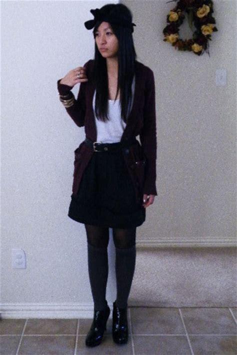 black skirts cardigans gray socks black tights