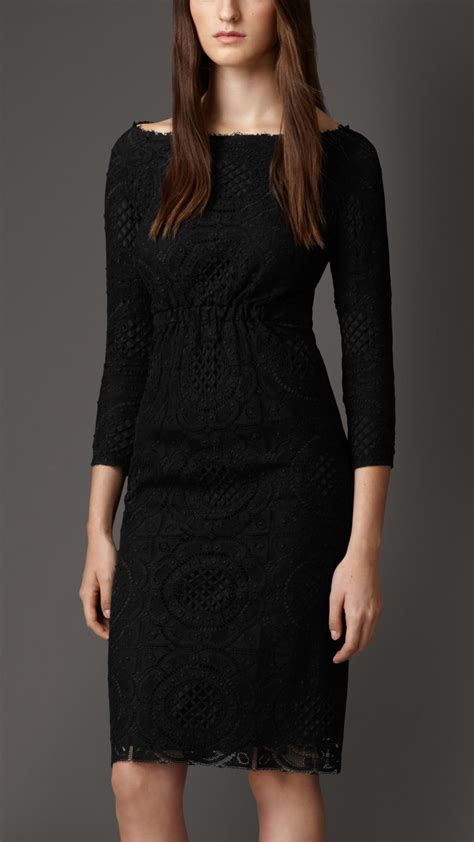 burberry boat neck lace dress in black lyst - Black Boat Neck