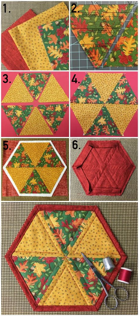mug rug pattern by silver quilting hexagon mug rug pattern tutorial on craftsy