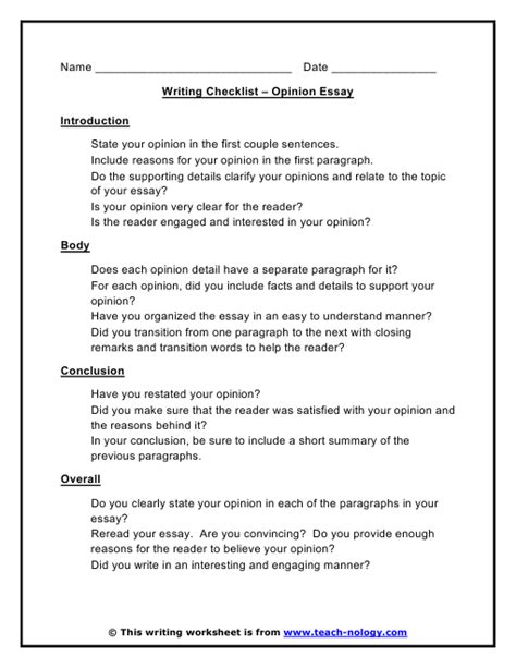 how to write an opinion paper opinion essay writing checklist