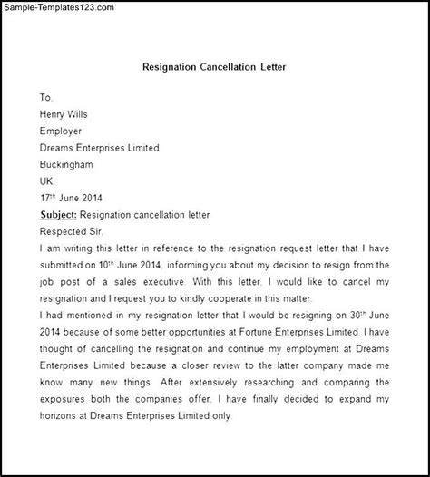 Cancellation Letter Of Resignation Sle Resignation Cancellation Letter Sle Templates