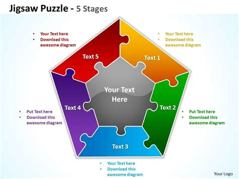Jigsaw Puzzle 5 Stages Powerpoint Templates Graphics Slides 0712 Powerpoint Design Template Powerpoint Jigsaw Template 2