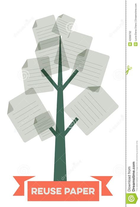 How Many Pieces Of Paper Can A Tree Make - reuse paper stock vector image 42068792