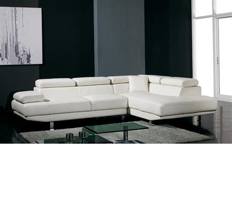 dreamfurniture modern white leather sectional