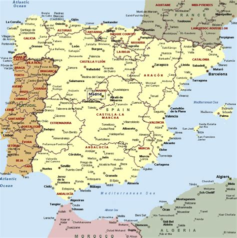 map of spain and portugal spain and portugal map with cities tourism portugal
