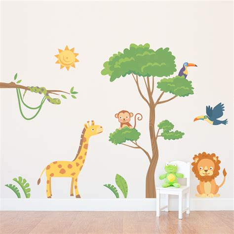 jungle safari wall decal animal wall stickers  nursery