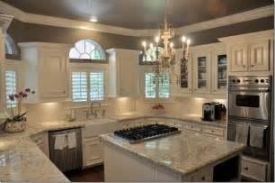 Light Grey Kitchen Walls Kitchen With White Cabinets White And Light Gray Granite Counters Chandelier Gray Walls