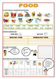 1951 free esl food worksheets worksheet food healthy unhealthy sainung