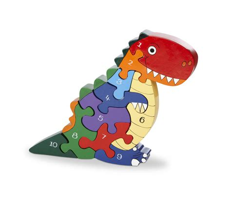 Handmade Dinosaur - handmade wooden number t rex dinosaur puzzle by wood like