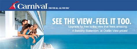 carnival free cabin upgrades from oceanview to balcony